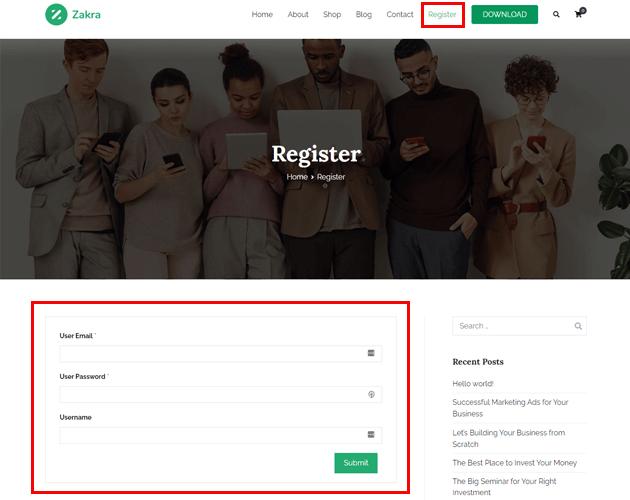 Display User Registration Form