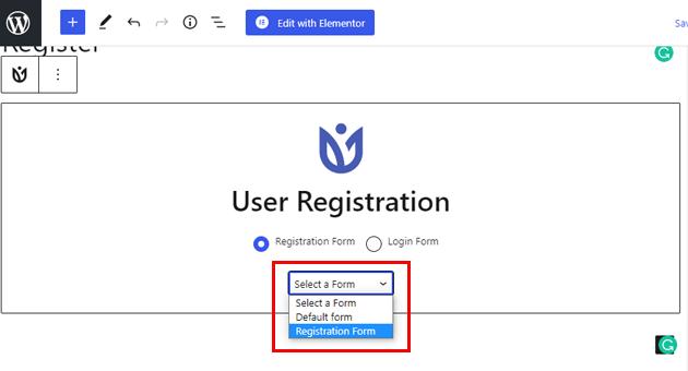 User Registration Dropdown