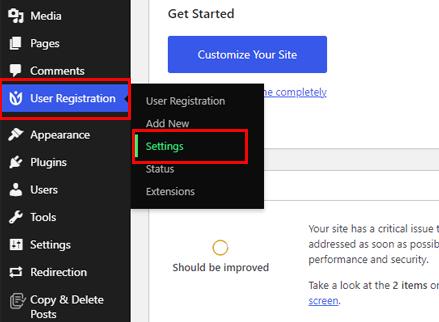 User Registration Settings Navigation