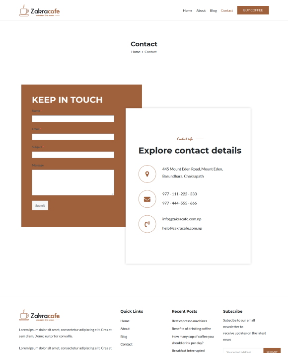 Contact – Zakra Cafe