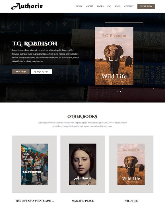 book author zakra free elementor templates