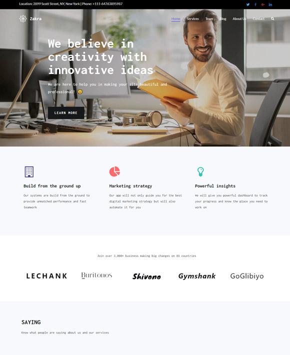 business zakra free elementor templates