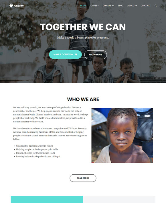 charity zakra free elementor templates