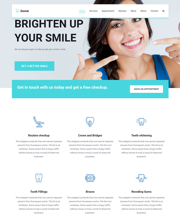 dentist zakra free elementor templates