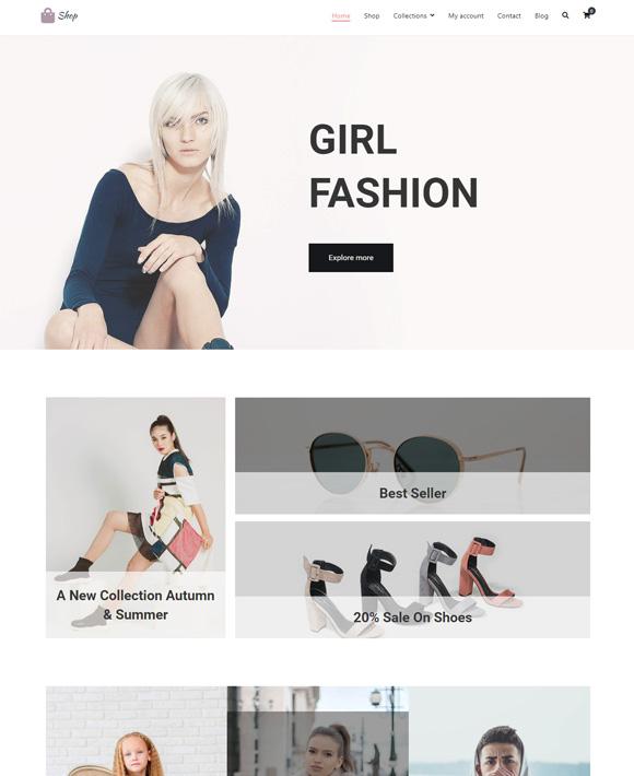 girl fashion zakra free elementor templates