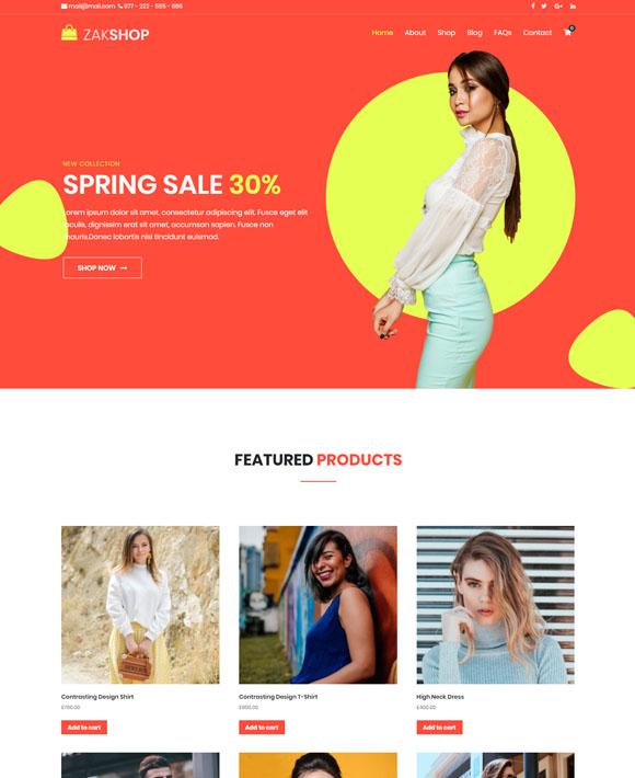 ladies shop zakra free elementor templates