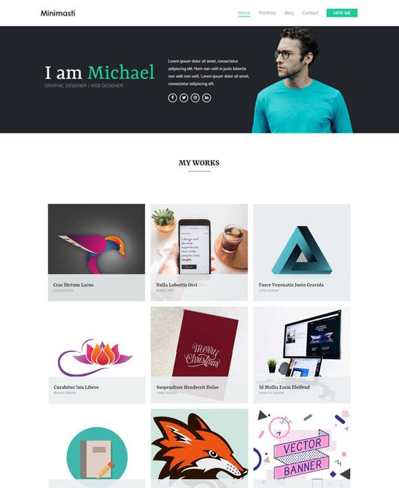 minimal portfolio free elementor templates