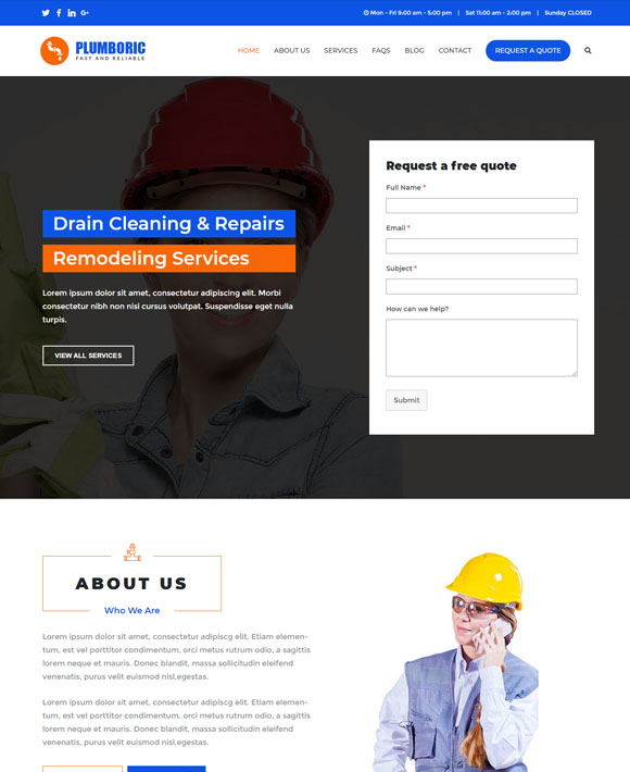 plumber zakra free elementor templates