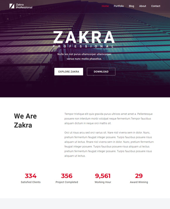 zakra professional free elementor templates